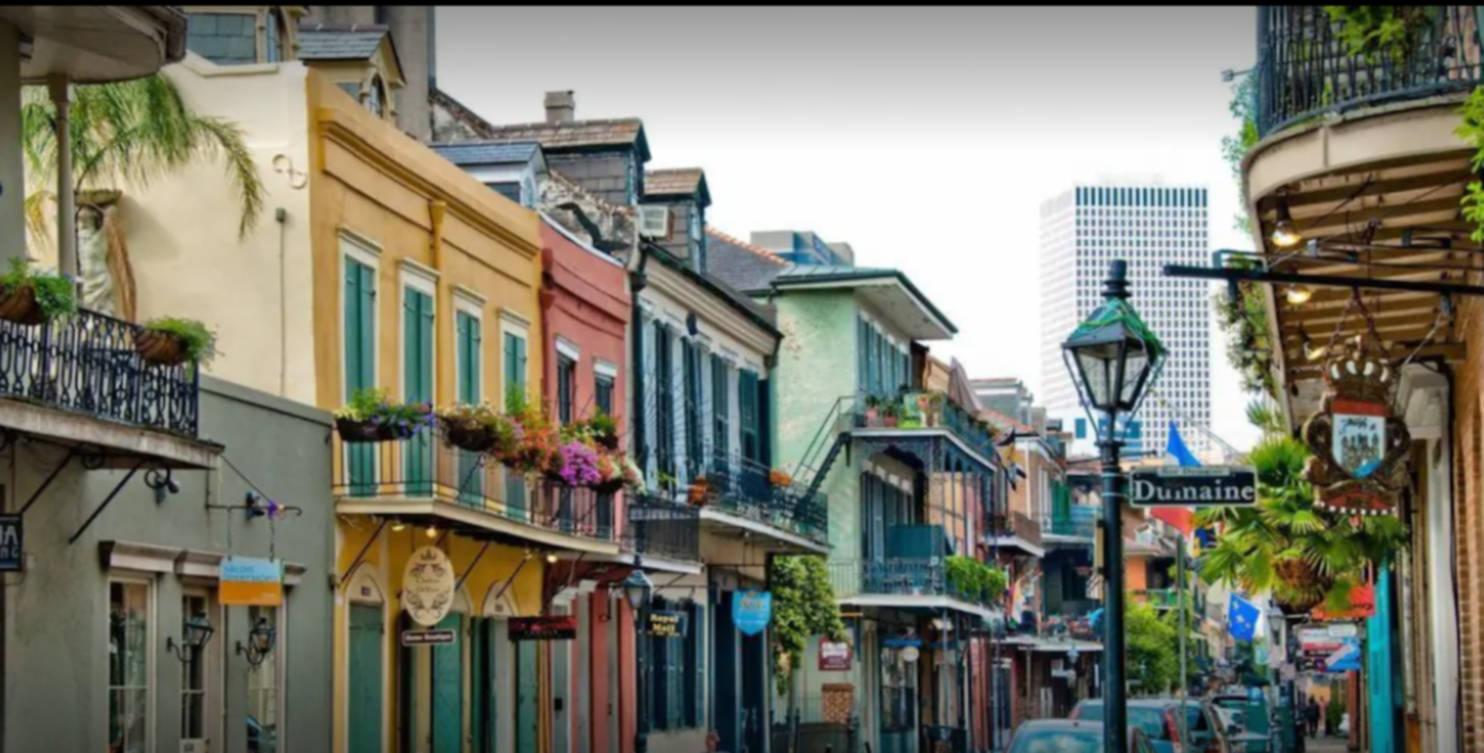 A narrow city street at The WG Creole House 1850.