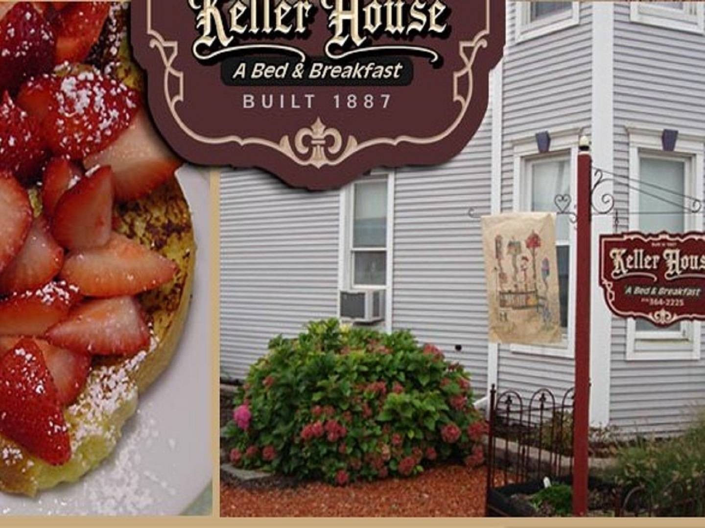 A close up of food in front of a building at Keller House Bed and Breakfast.