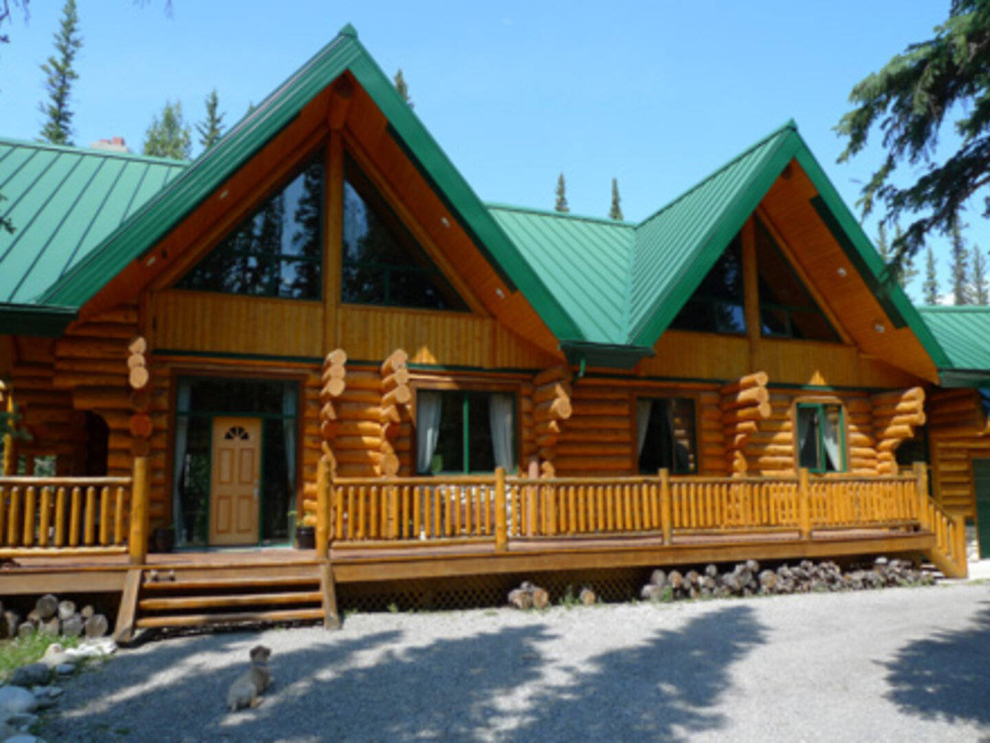 A wooden house at Riverside Chateau.